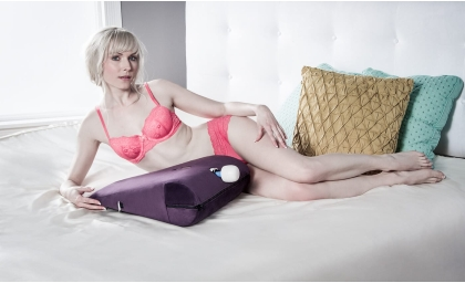 Woman lying next to Axis Magic Wand Sex Toy Mount 1