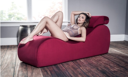 Woman laying on Esse Chaise - Sex Chair & Sex Chaise Lounger1