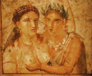 Roman fresco founded in Pompeii excavation, Italy